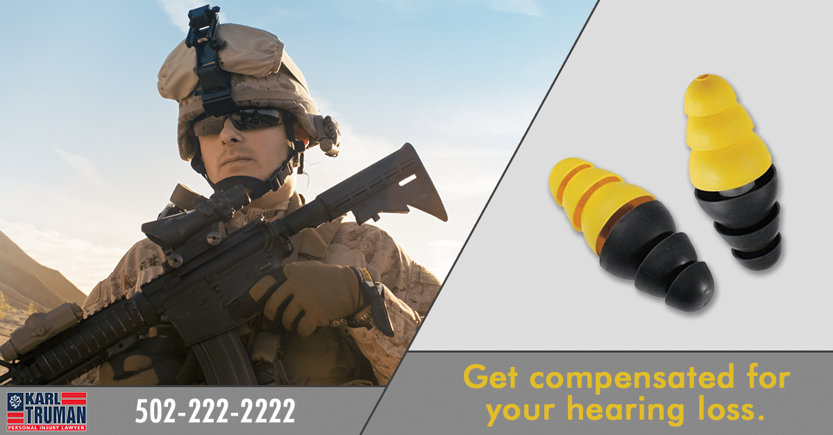 """Soldier next to graphic of faulty 3M military earplugs, with text that reads """"get compensated for your hearing loss"""""""